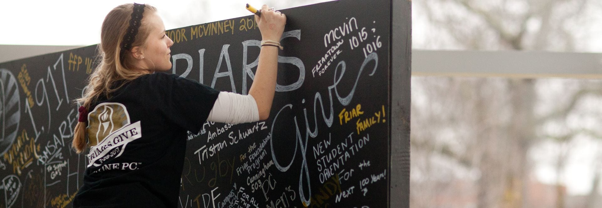 Friars Give 2017 Giving Day , writing wall, students
