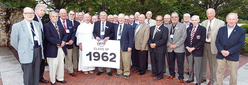 Alumni of the Class of 1962 with Father Shanley