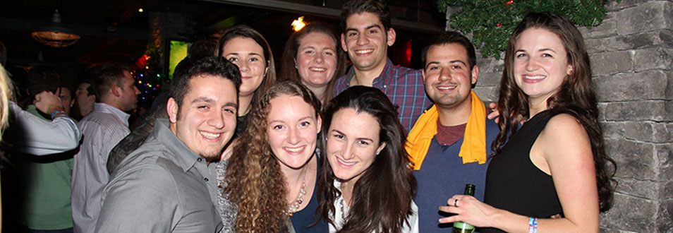 The New York Regional Alumni Club meeting at a bar