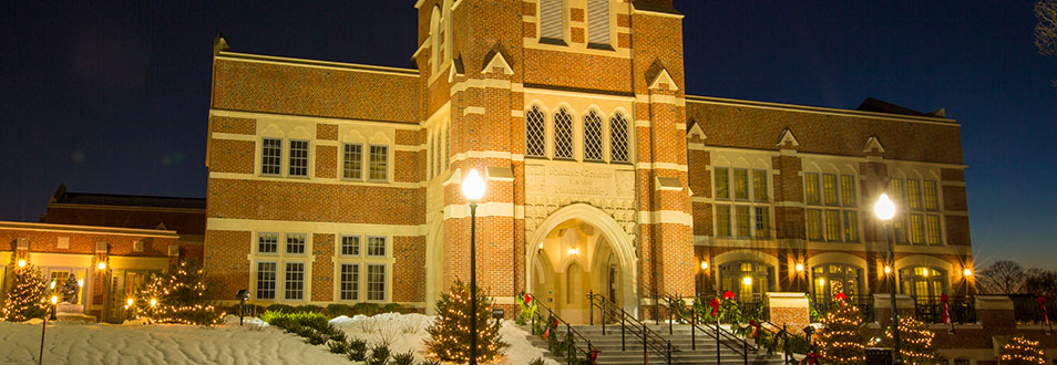Ruane Center for the Humanities decorated for Christmas