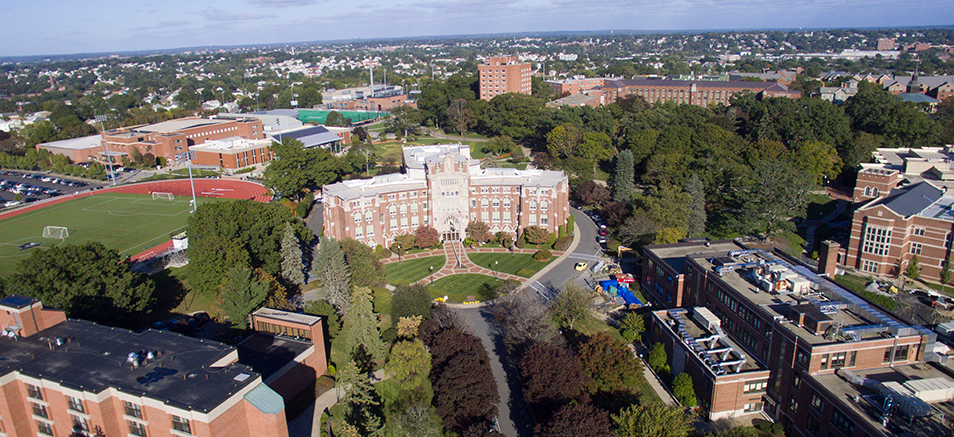 Aerial picture of Harkins Hall