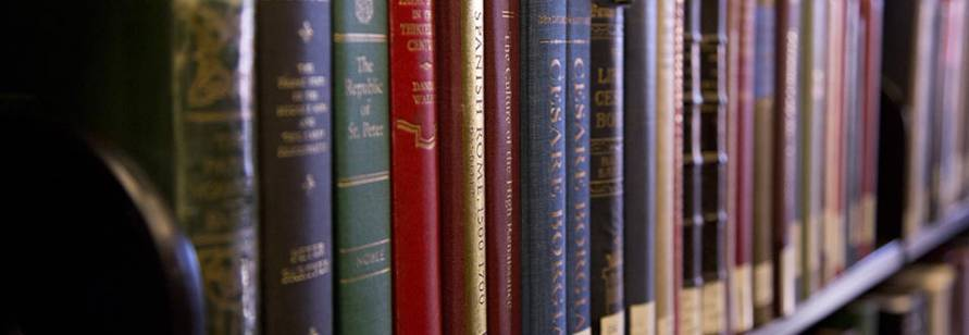 Close up of books on a shelf