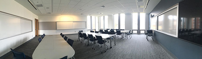 Ryan School of business classroom pan