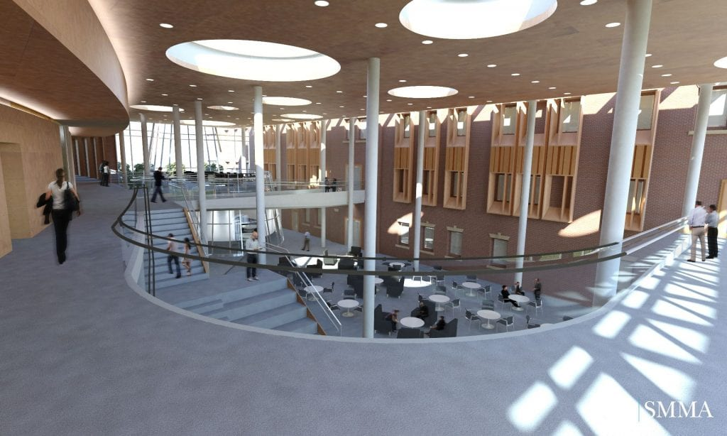 PCSB, Ryan Center for Business Studies, Business, building, atrium, interior, SMMA