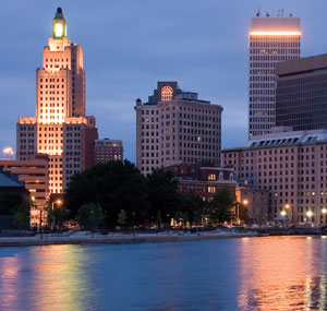 The Providence skyline at night