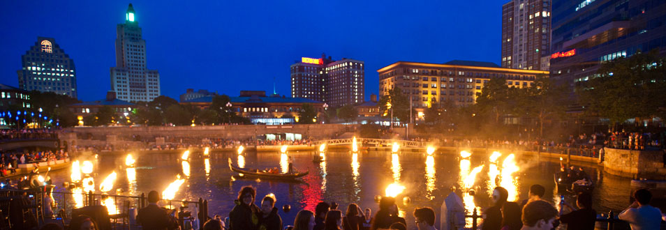 City of Providence skyline during Waterfire - a local celebration downtown
