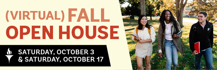 Virtual Fall Open House Logo with Photo of Students Walking Across Campus