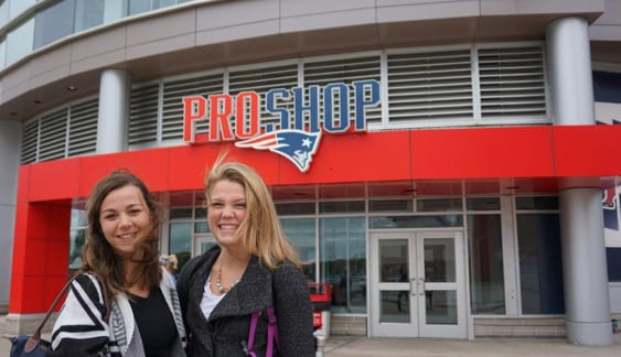 Kathleen Cronin '18 , left, and Abigail White '18 were part of the team that examined processes at the New England Patriots' ProShop at Gillette Stadium.