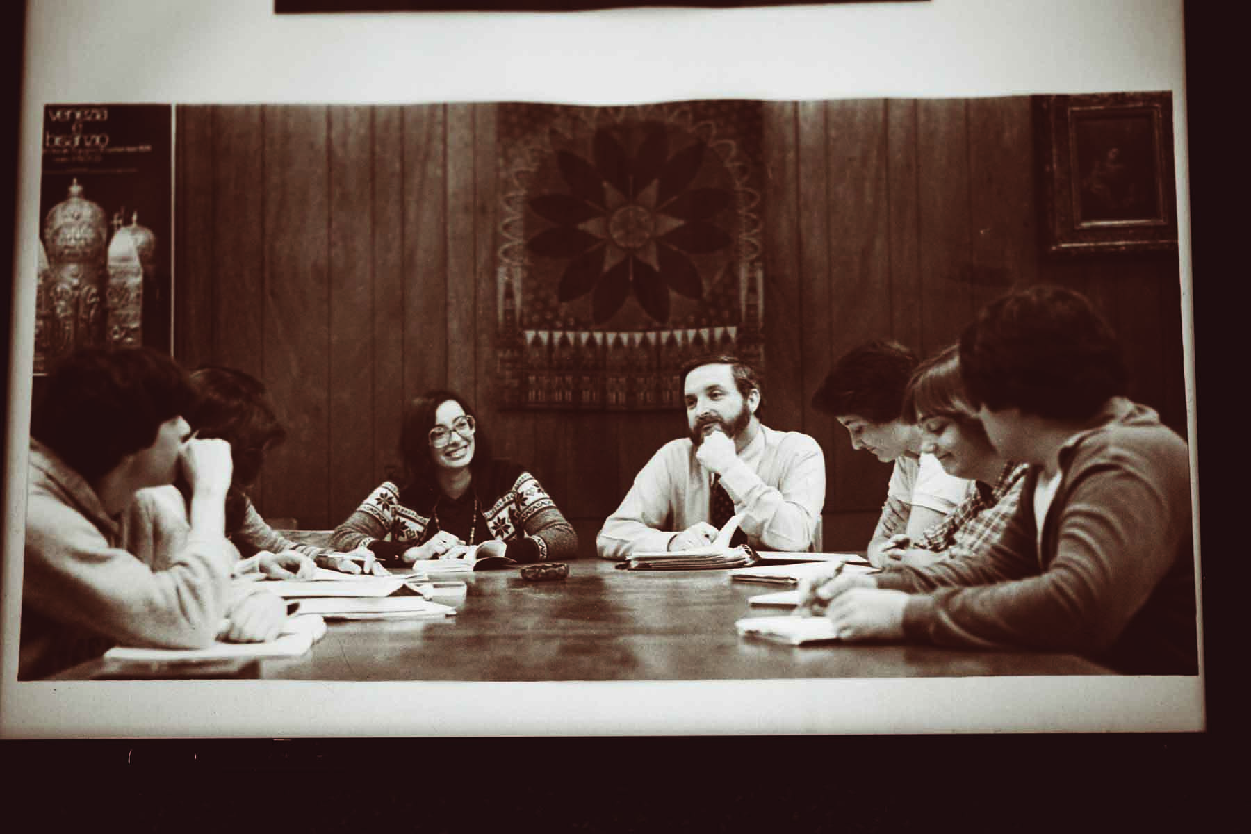 Grace leads an honors seminar around the Woodrow Wilson Table in the early 1980s.