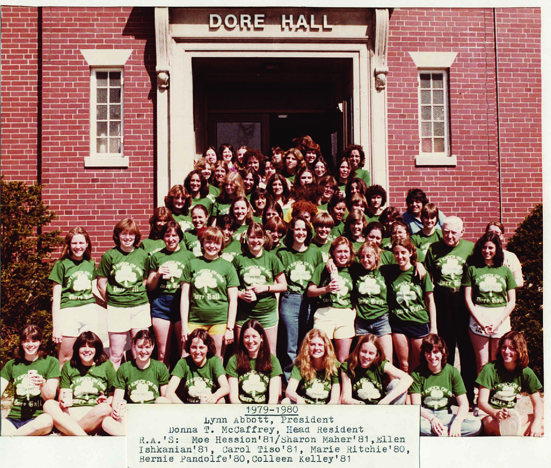 Women, already a majority on campus, gather outside Dore Hall during the 1979-80 academic year.