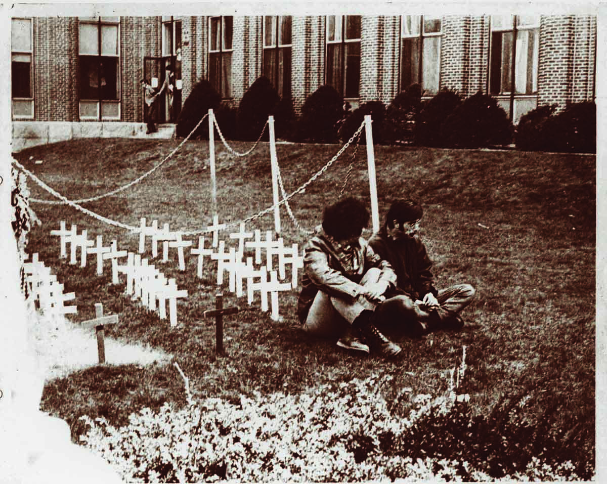 Students on the Aquinas lawn during Moratorium Day, 1969.