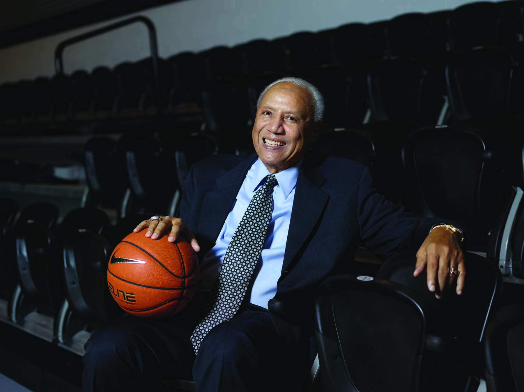 Lenny Wilkens '60 & '80Hon. during a return visit to Mullaney Gym at Alumni Hall.
