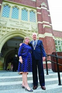 Ruane Center Dedication Ceremony, 10/5/13, Left: Elizabeth Ruane, Right: Michael Ruane '71, (Do not use without the explicit permission of Mrs. Ruane), Mr. and Mrs. Ruane in the front of the entrance to the Ruane Center for the Humanities, pose, smile October 5, 2013