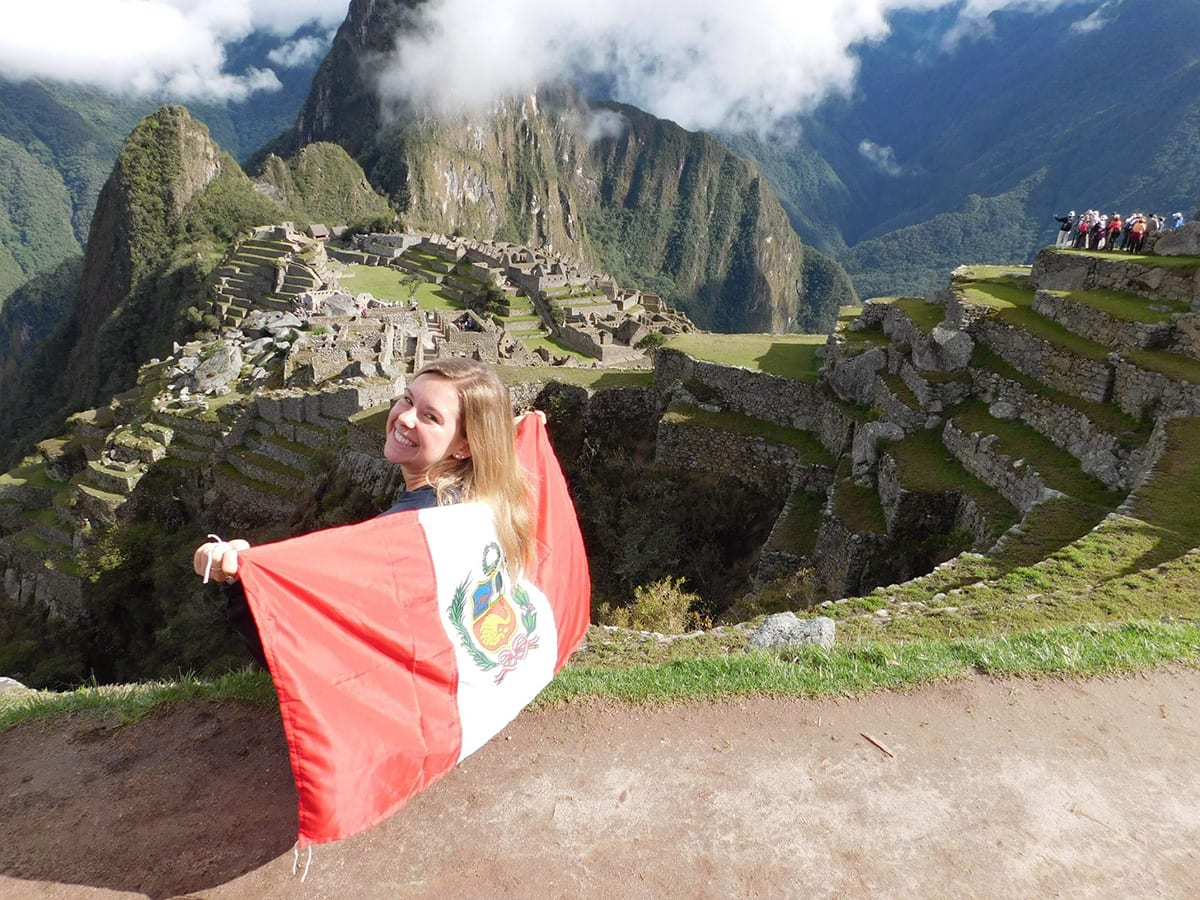 Taylor Gibson '17 overlooking Machu Picchu in Peru