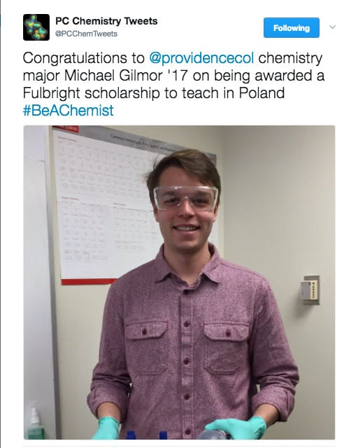 The chemistry department congratulated Gilmor on his Fulbright.