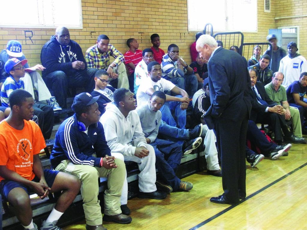 Wilkens visits Brownsville, N.Y., as part of his work with the Lenny Wilkens Foundation.