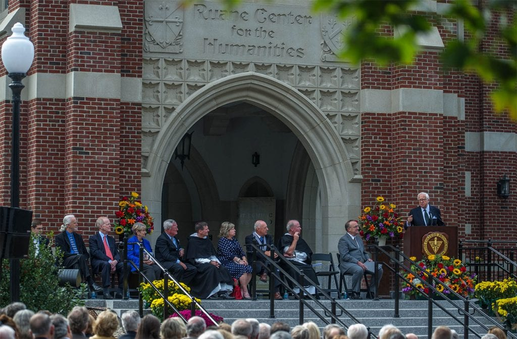 David McCullough speaking at the dedication of the Ruane Center for the Humanities in 2013.