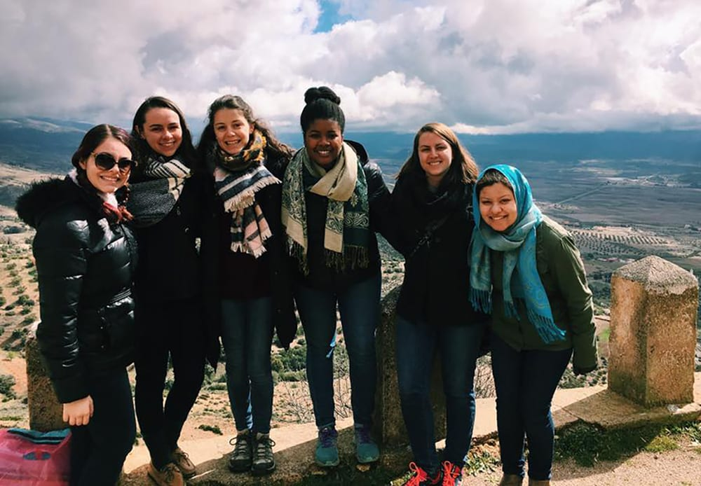 Hannah Sorila '17, second from right, stops with other international students at an overlook in Ribat El Kheir, Morocco.