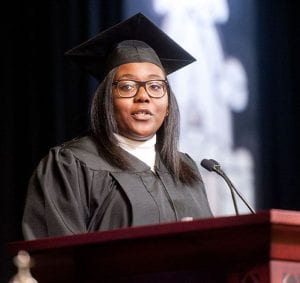Phionna-Cayola Claude '18, Student Congress president, encouraged professors to be learners and students to be educators during her remarks.