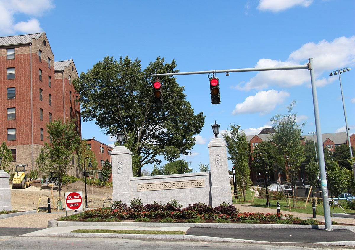 The pedestrian entrance at Eaton Street and Huxley Avenue is a new campus gateway to the portion of Huxley that was closed and converted to a walkway.