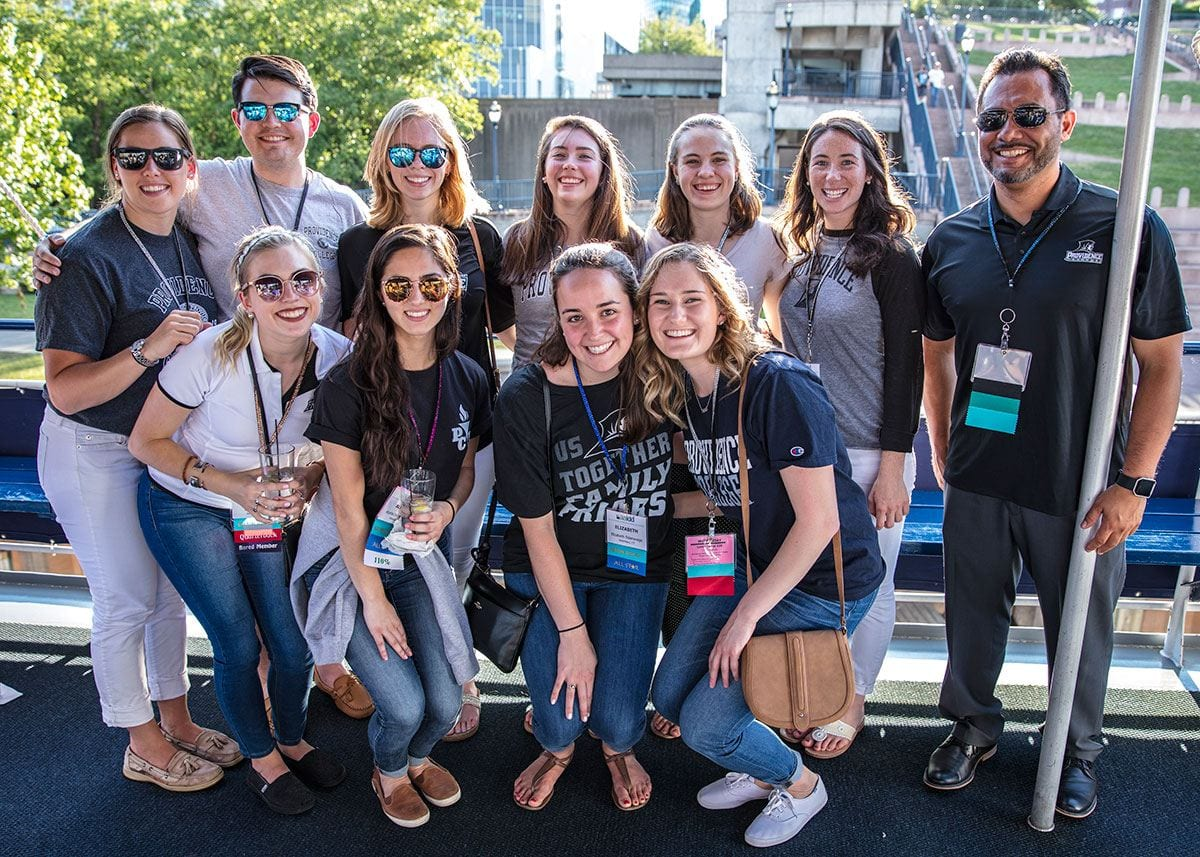 Team members and their professor, Dr. Anthony Rodriguez, gather for a group photo prior to a boat cruise that kicked off the conference. The students are, front from left: Lauren Wyse '17, Alysha DeCrescenzo '17, Elizabeth Sideravage '17, and Shannon McMahon '17. Rear: Megan Tucker '17, Thomas O'Connor '17, Lauren Biddell '17, Jamie Metzger '17, Reed Fraser '17, and Jacklyn Brehm '17.
