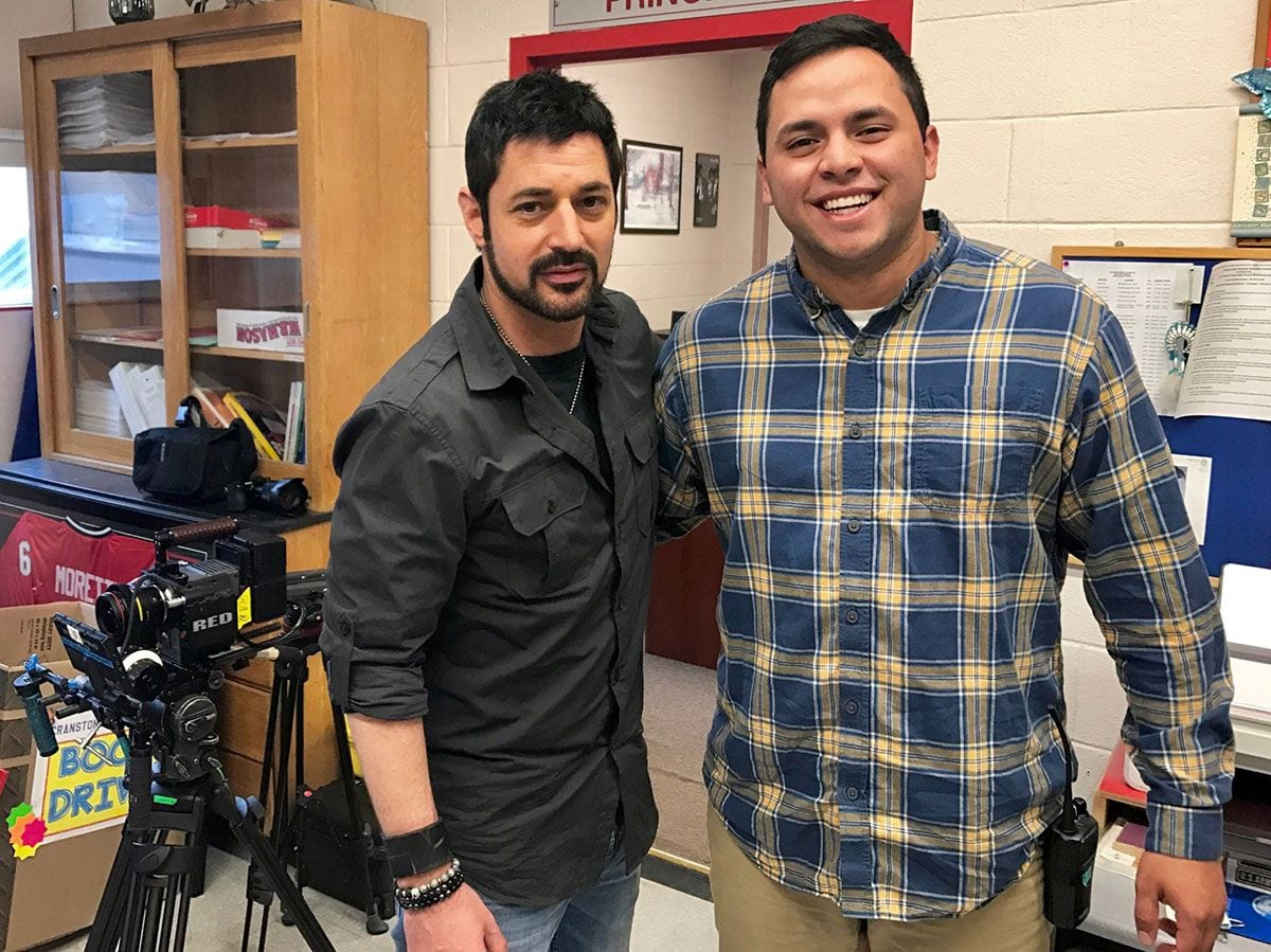 "David Gere '97, left, and Stefan Puente '17 have formed a strong professional bond, sparked by their meeting on the set of ""The Santa Files."" (Photo: Woodhaven Media)"