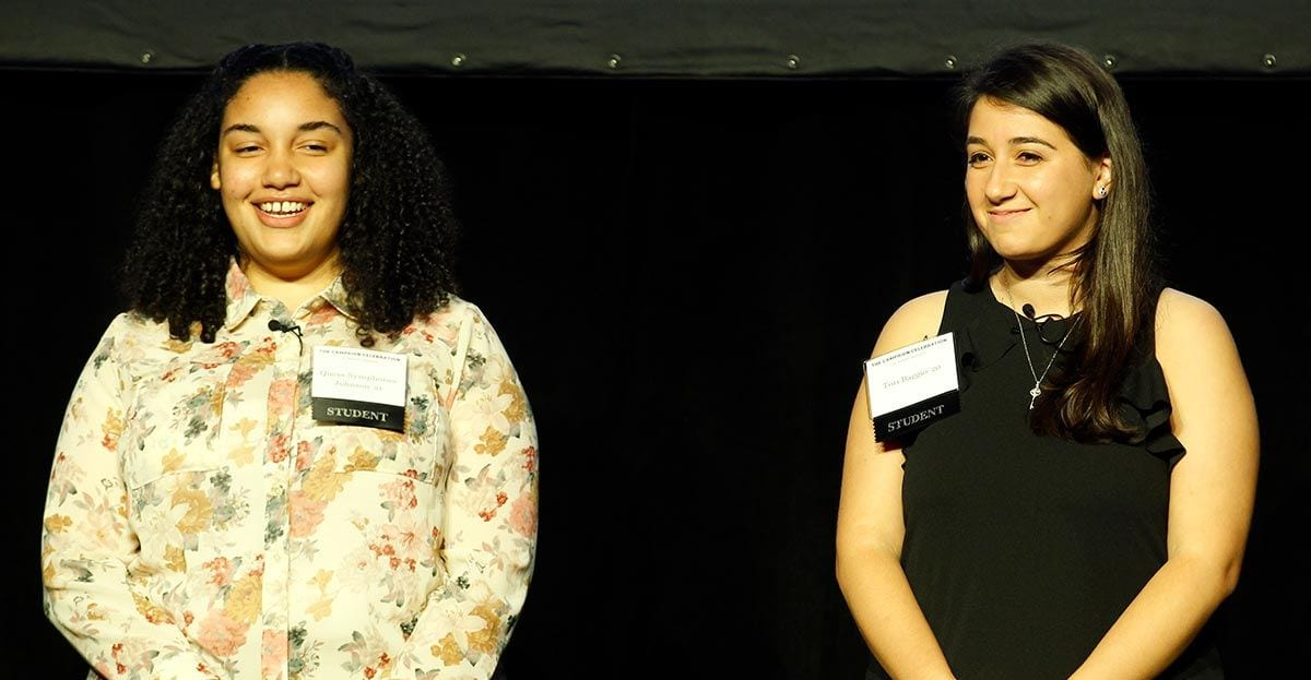 Students Quess-Symphonee Johnson '21, left, and Tori Baggio '18 thanked donors for their support.