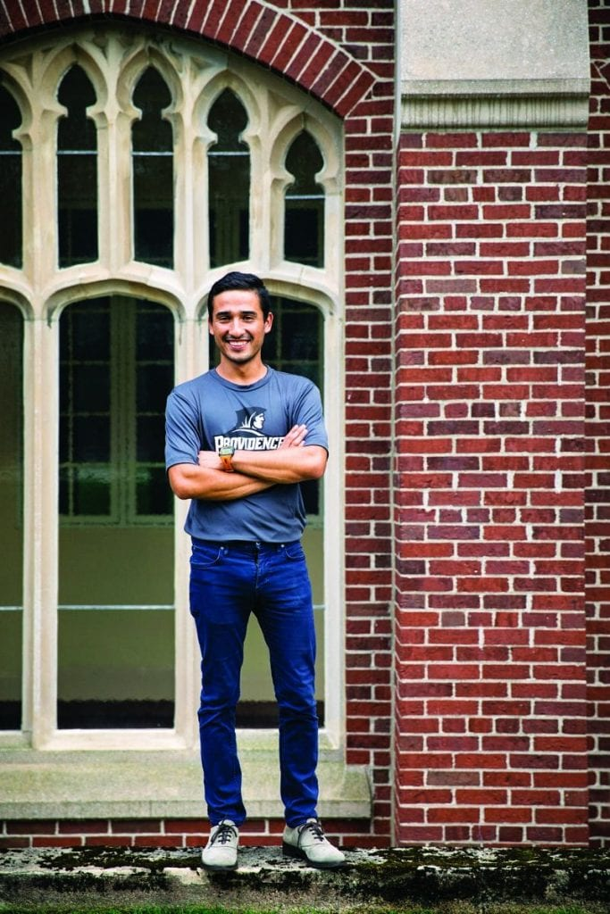 Heriberto Castro '18, an economics major, outside Harkins Hall
