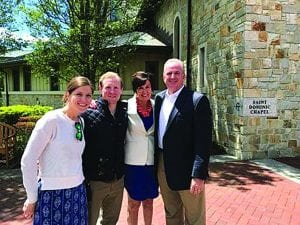 From left, Maggie '12 and David '08 & '10G Dombroski, with Ann '82 and Jeffrey '82 Wendth on Reunion Weekend 2017