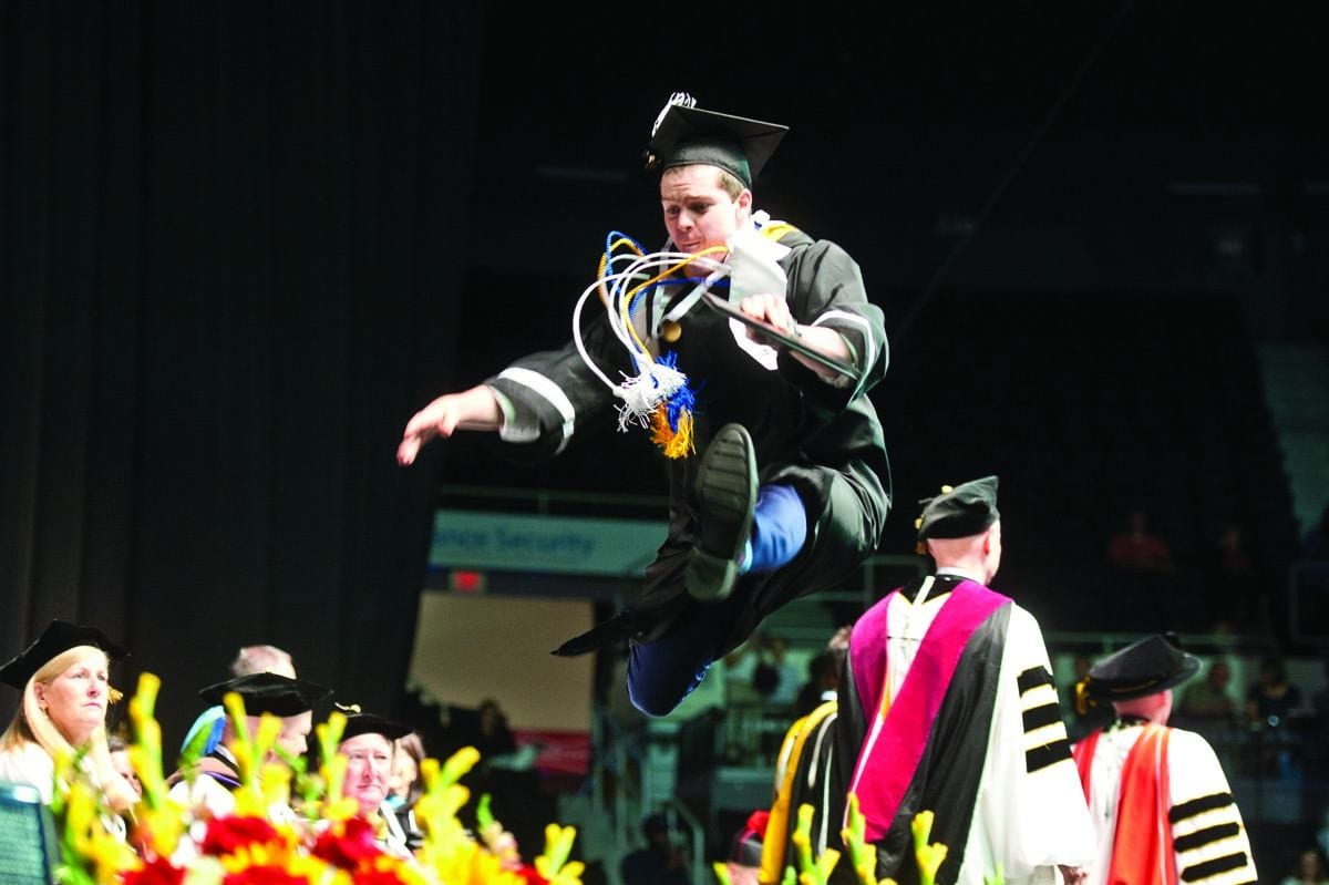 Finance major Nicholas Przekurat '17 decided to celebrate the end of four years as the Friar Dom mascot by leaping for joy as he crossed the stage to accept his diploma at Commencement Exercises in May. But he wasn't the only student head over heels for PC — check out this back flip by biology major Janelle Ortega '17 on Instagram: prov.ly/pcgradflip
