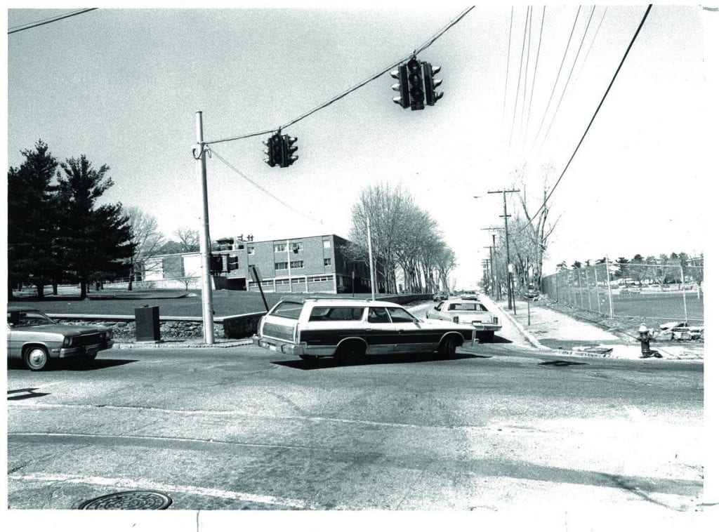 A station wagon enters Huxley Avenue from Eaton Street in this 1984 photograph.