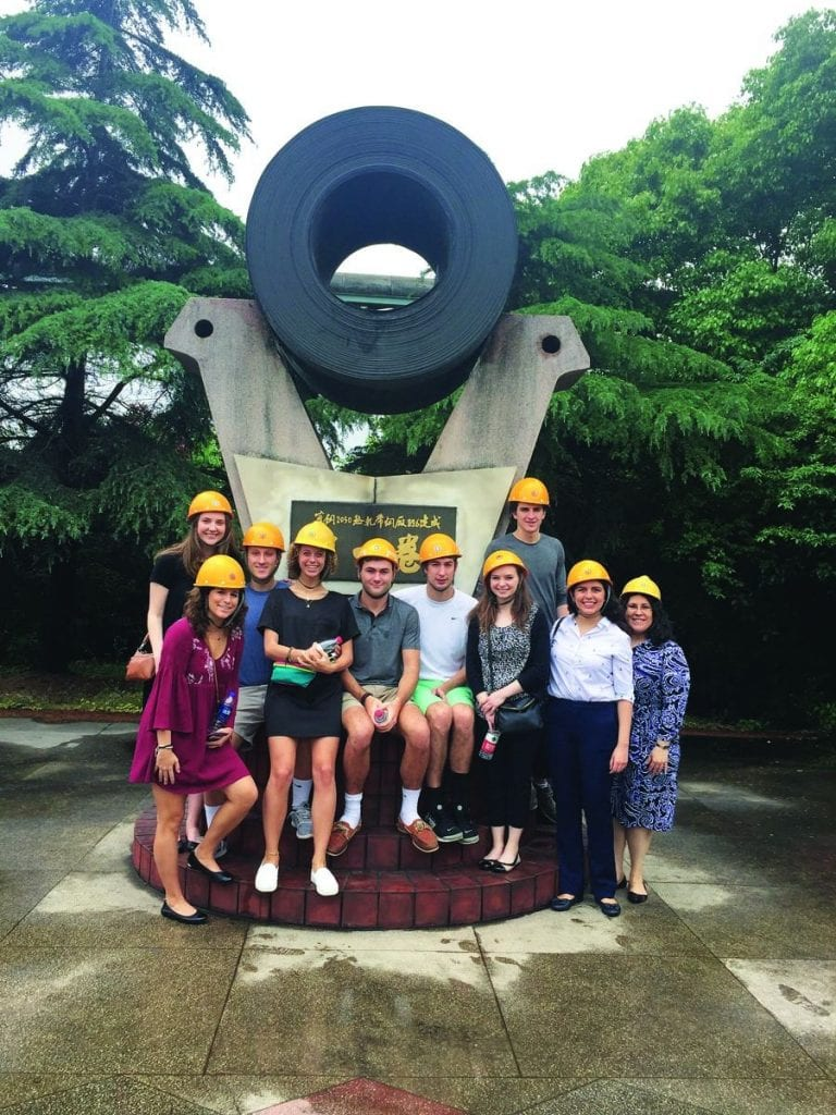 Students on the Maymester trip to China pose after touring Bao Steel in the Baoshan district of Shanghai, where they saw how steel is made. From left, Jennifer Wilson '20, Katy Hirschfeld '19, Brendan Dilbarian '20, Catie Capalongo '19, Patrick Callahan '20, Andrew Schauer '18, Abby Cook '18, Connor Carroll '18, Olivia Ferri '19, and Dr. Jacqueline Elcik, assistant dean of graduate programs, assessment & student engagement.