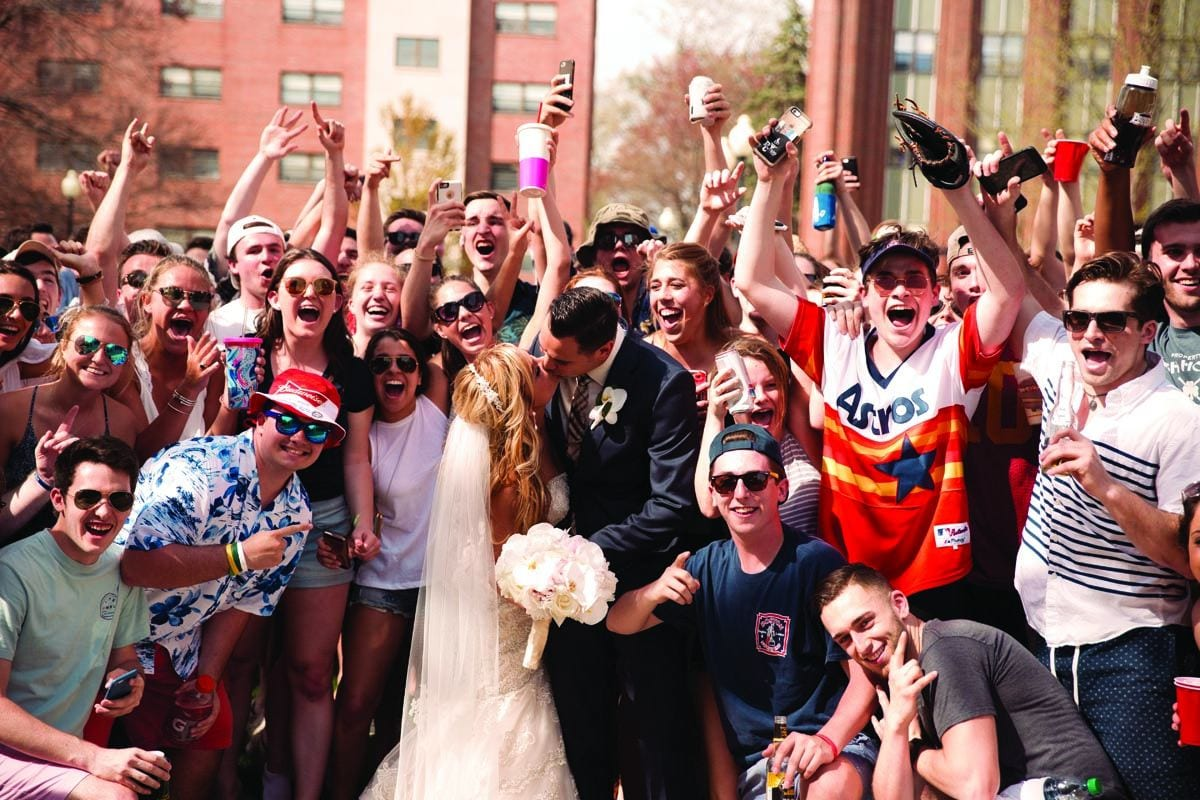 Jonathan Mendes '12 and Kayla (Andrade) Mendes '14 got married at St. Dominic Chapel surrounded by friends and the Friar family. Celebrating a union of your own, a new addition to your family, or a career achievement? Submit updates at: prov.ly/alumni-notes
