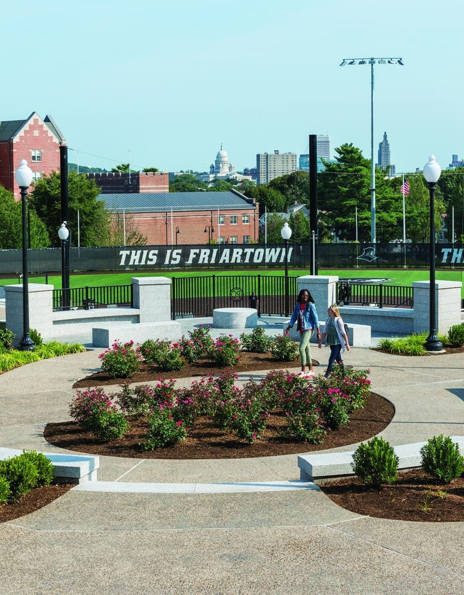 A plaza offering views of the Providence skyline as well as Friars softball, was built on the land where Huxley Avenue once stood.