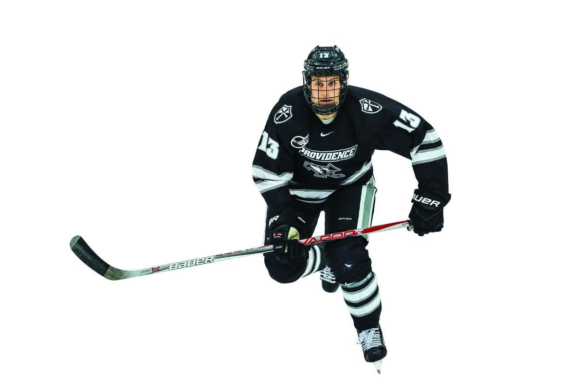 The competitive hockey career of Garrett Gamez '19 (Chino Hills, Calif.) is over, but the real story is the strength and character that lie within the Friar forward. Gamez collapsed on the bench during PC's Hockey East Tournament game at Notre Dame last March. After undergoing medical tests and consultations for several months, he was advised by doctors that playing hockey could severely jeopardize his health. Supported all along by his head coach, Nate Leaman, and Friar teammates, Gamez will remain with the team as a student assistant coach. His inspiring story is captured in part by master storyteller and former PC hockey player Mike Leonard '70 & '00Hon. Watch and read more: prov.ly/gamez-2017