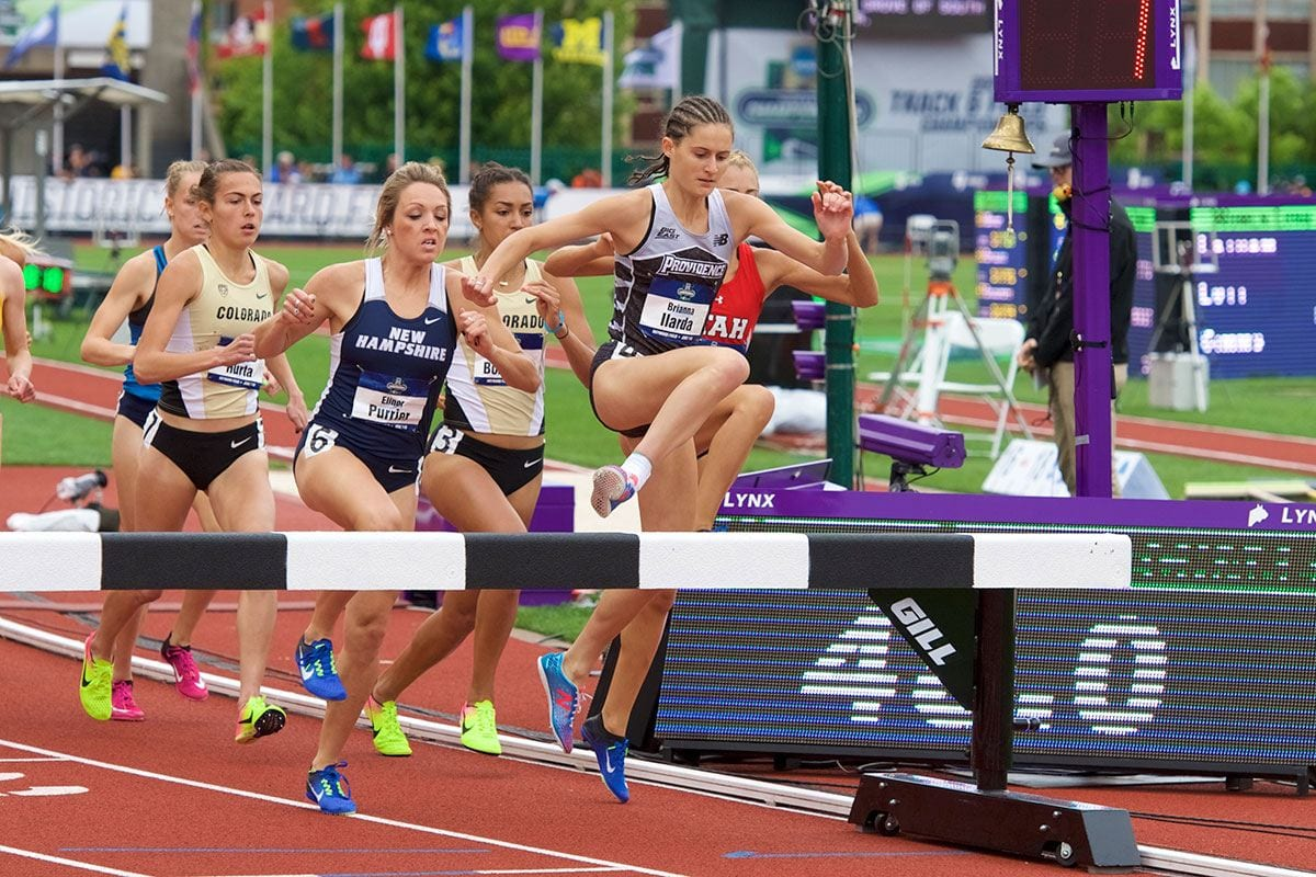 Five student-athletes achieved All-America status for their performances during the spring 2017 season. Above, leaping over a barrier is BRIANNA ILARDA '18, a First Team All-American in outdoor track in the 3,000-meter steeplechase.