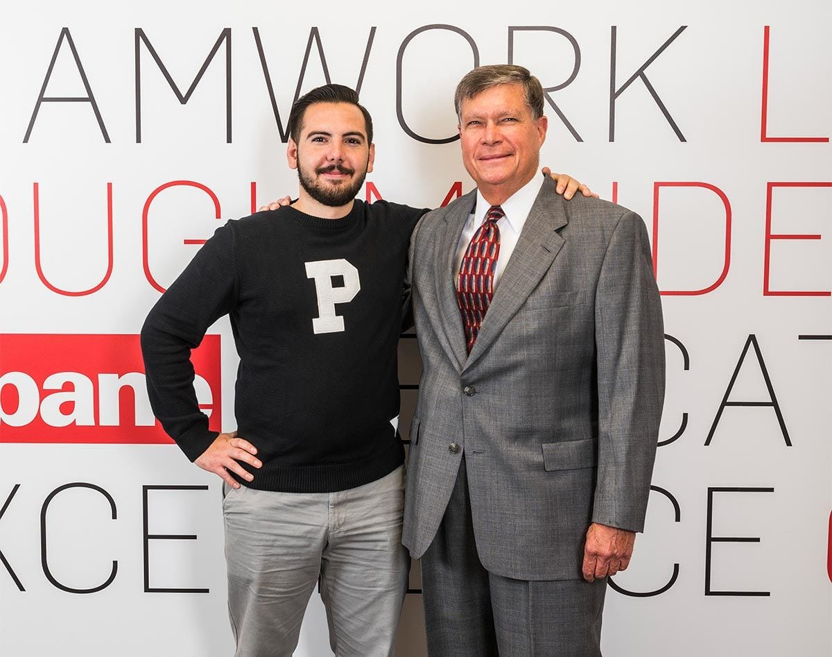 Joseph Padavano '17 and his mentor and scholarship benefactor, Everett Gabriel '71 & '77G, at Gilbane headquarters in Providence.