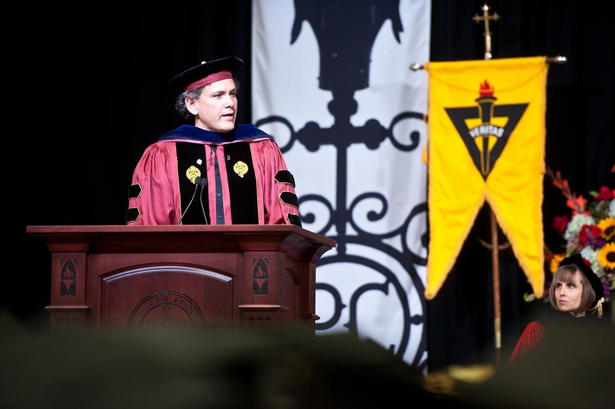 As the Accinno Award recipient, Dr. Christopher Arroyo addressed students and families at the Academic Awards Ceremony during Commencement Weekend in May 2017.