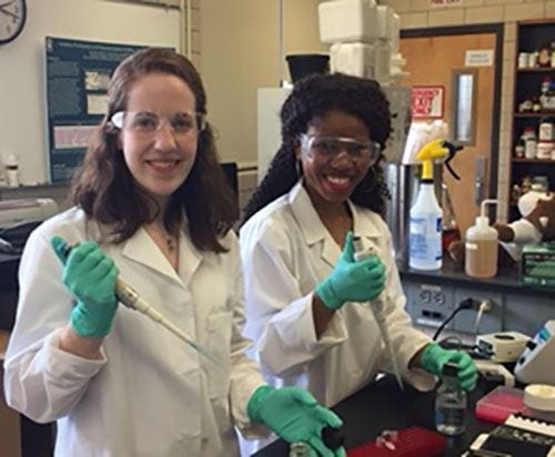 Biochemistry major Amy Conte '19, left, and Janet Odufunade '19, a biology major, are research students with Dr. Kathleen Cornely, professor of chemistry.
