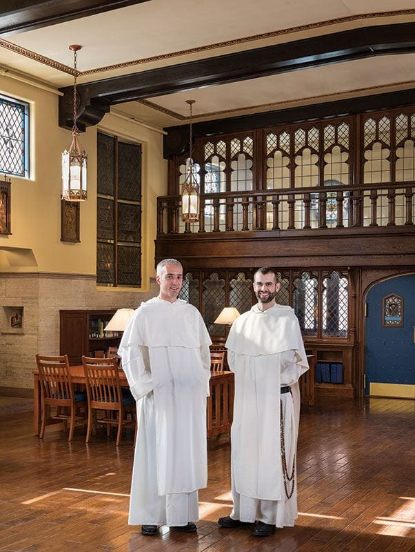 Rev. Dominic Verner, O.P., left, and Rev. Bonaventure Chapman, O.P. in the Center for Catholic and Dominican Studies, formerly Aquinas Chapel