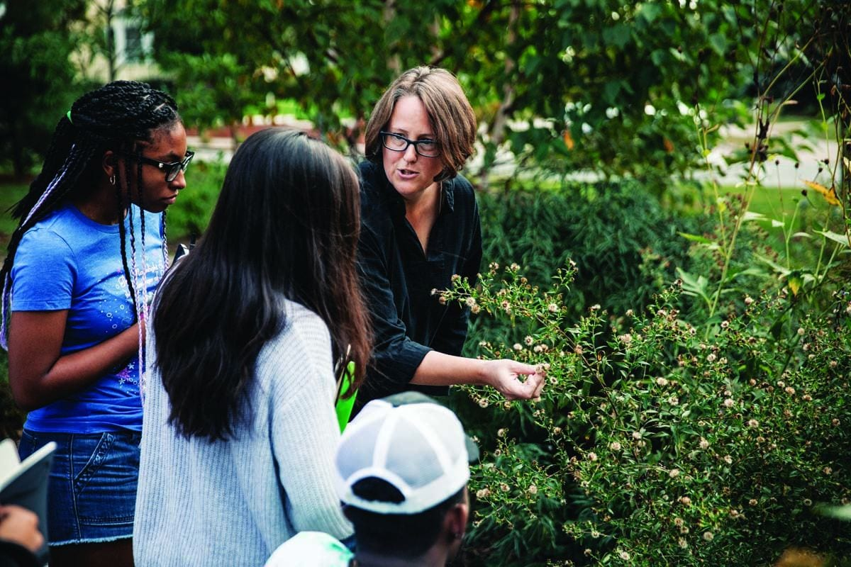 Dr. Maia F. Bailey, associate professor of biology, shows flowers in the bioswale on campus to Sandra-Kelly Atkinson '18, left, and Allison Andrade '20, as part of the course Field Botany: Observing Nature.