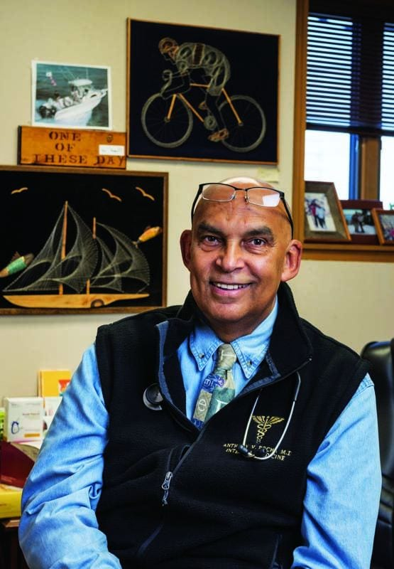Anthony V. Rocha, M.D. '72 at his internal medicine practice in East Providence.