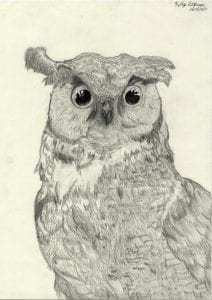 A great horned owl pencil sketch by Sandra-Kelly Atkinson '18, biology major and art history minor.