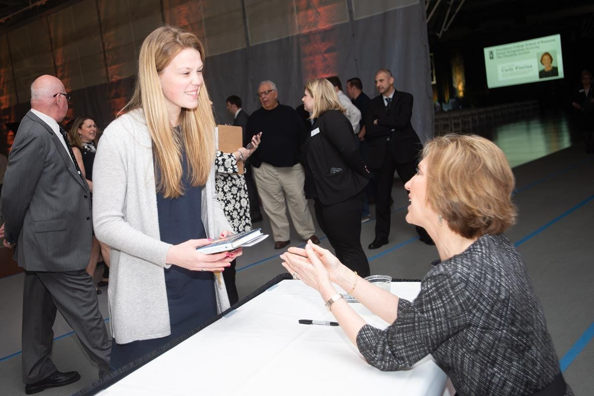 Fiorina signed books for students, alumni, faculty, and staff following the presentation.