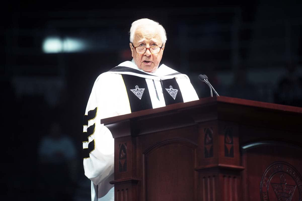 Commencement speaker David McCullough tells graduates America always faces its serious problems and acts to solve them.