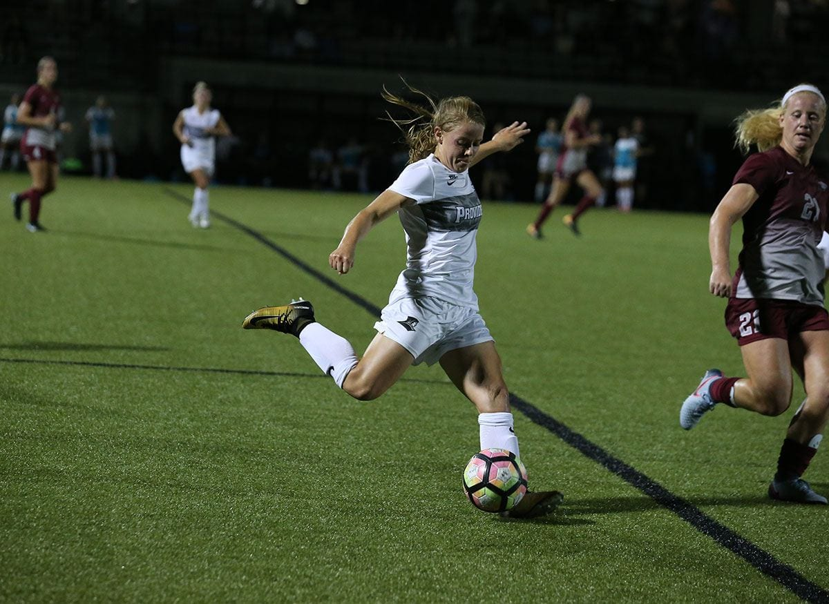 As a center midfielder, Kristin Hayman '18, played in 34 games in her two years with the Friars.