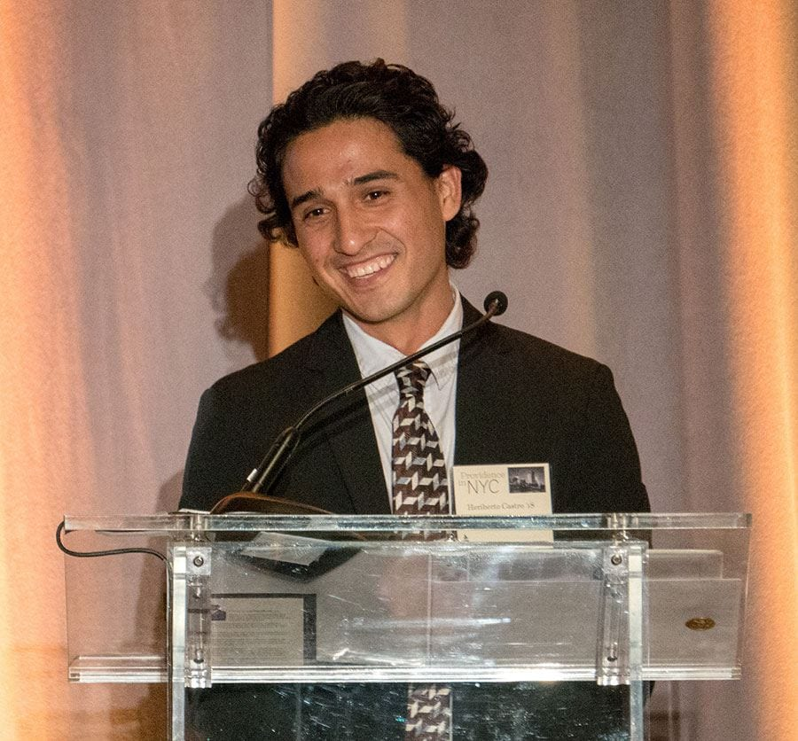 Program participant Heriberto Castro '18 speaks about Friar Foundations at a scholarship dinner in New York this spring.