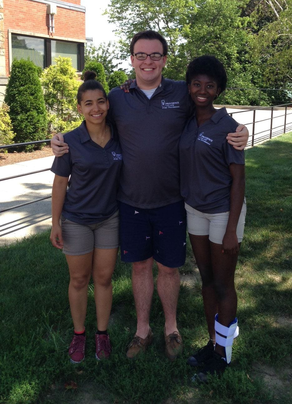 From left, Jarely Paulino Diaz '18, Patrick Rogers '17, and Amie Mbye '18 were Friar Foundations Program mentors in 2016. Paulino and Mbye were part of the program's first class.