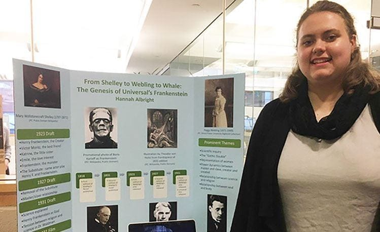 Hannah Albright '18 conducted research on Frankenstein