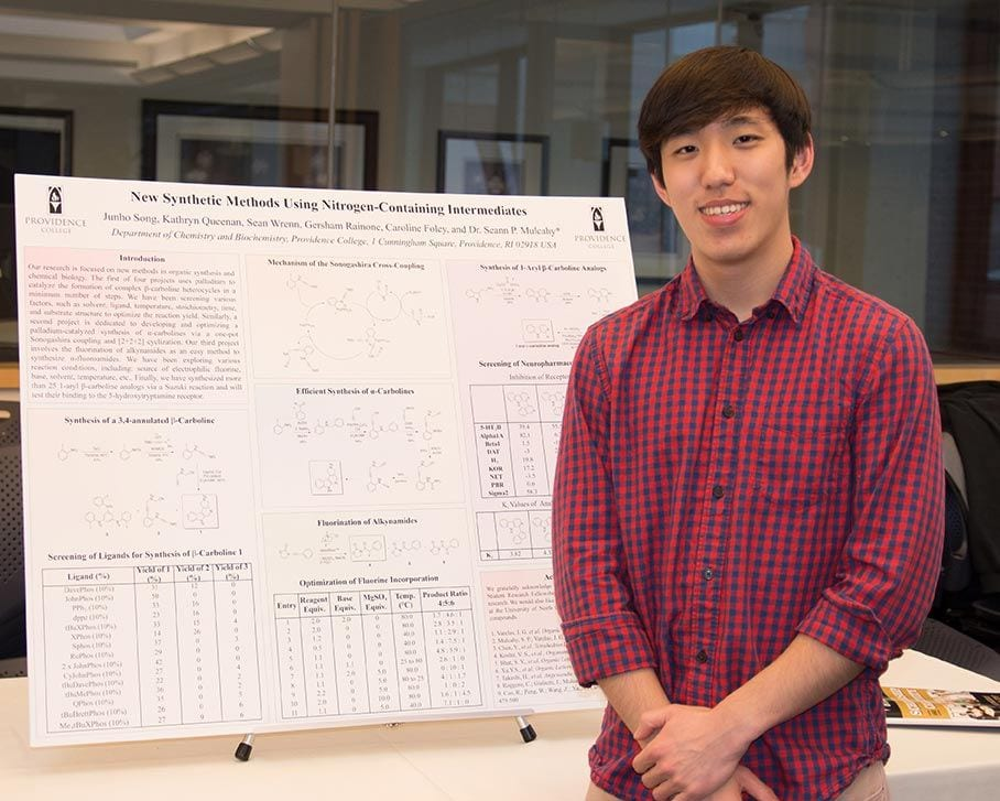 Junho Song '18, a biology major, presented his research at PC's annual Celebration of Scholarship and Creativity.